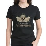 Forensic Anthropology Women's Dark T-Shirt - A paint spattered grunge skull with wings and floral design in khaki, olive and brown hues. Forensic anthropology apparel and gifts for a forensic anthropologist, scientist, student, teacher or grad. - Availble Sizes:Small,Medium,Large,X-Large,2X-Large (+$3.00) - Availble Colors: Black,Red,Caribbean Blue,Pink,Charcoal Heather,Kelly,Pink Camo,Navy