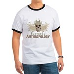 Forensic Anthropology Ringer T - A paint spattered grunge skull with wings and floral design in khaki, olive and brown hues. Forensic anthropology apparel and gifts for a forensic anthropologist, scientist, student, teacher or grad. - Availble Sizes:Small,Medium,Large,X-Large,2X-Large (+$3.00) - Availble Colors: Black/White,Red/White,Navy/White