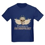 Forensic Anthropology Kids Dark T-Shirt - A paint spattered grunge skull with wings and floral design in khaki, olive and brown hues. Forensic anthropology apparel and gifts for a forensic anthropologist, scientist, student, teacher or grad. - Availble Sizes:Kids X-Small,Kids Small,Kids Medium,Kids Large,Kids X-Large - Availble Colors: Black,Navy,Royal,Red,Purple,Green Camo