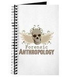 Forensic Anthropologist Journal - A paint spattered grunge skull with wings and floral design in khaki, olive and brown hues. Forensic anthropology apparel and gifts for a forensic anthropologist, scientist, student, teacher or grad.