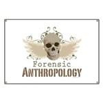 Forensic Anthropology Banner - A paint spattered grunge skull with wings and floral design in khaki, olive and brown hues. Forensic anthropology apparel and gifts for a forensic anthropologist, scientist, student, teacher or grad.