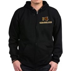 I Love [Heart] Chocolate Zip Dark Hoodie