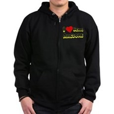 I Love [Heart] Being Awesome Zip Dark Hoodie