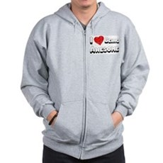 I Love [Heart] Being Awesome Zip Hoodie