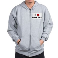I Love [Heart] Black Guys Zip Hoodie