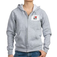 I Love [Heart] Beer Womens Zip Hoodie