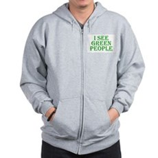 I see green people Zip Hoodie