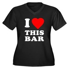 I Love This Bar Womens Plus Size V-Neck Dark T-Sh