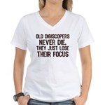 Old Digiscopers Never Die Women's V-Neck T-Shirt
