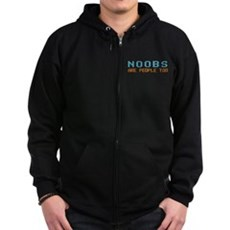 Noobs Are People Too Zip Dark Hoodie