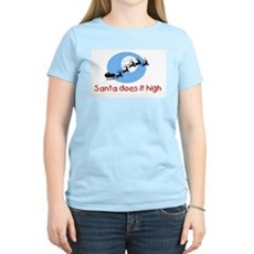 Santa does it high Womens Pink T-Shirt