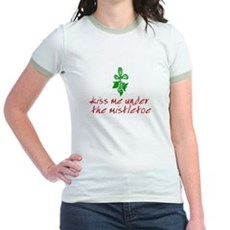 Kiss me under the mistletoe Jr Ringer T-Shirt