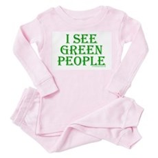 I see green people Toddler Pink Pajamas