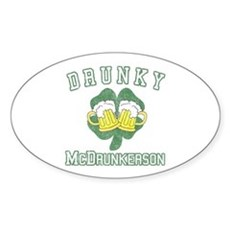 Drunky McDrunkerson Oval Sticker