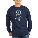 Stylized Barred Owl Long Sleeve Dark T-Shirt
