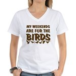 Weekends for the Birds Women's V-Neck T-Shirt
