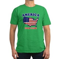 America Fuck Yeah! (Distresse Mens Fitted T-Shirt