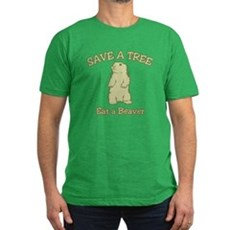 Save a Tree, Eat a Beaver Mens Fitted Dark T-Shirt