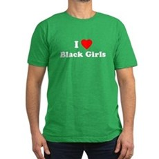 I Love [Heart] Black Girls Mens Fitted Dark T-Shirt