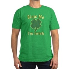 Blow Me I'm Irish Mens Fitted Dark T-Shirt