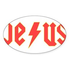Jesus AC/DC Oval Sticker