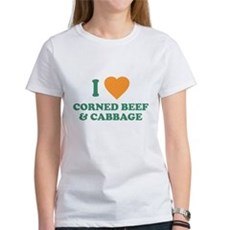 I Love Corned Beef & Cabbage Womens T-Shirt