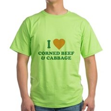 I Love Corned Beef & Cabbage Green T-Shirt