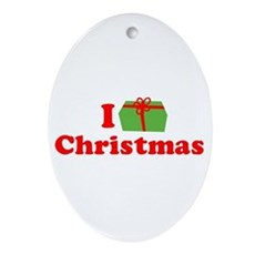 I Love [Present] Christmas Oval Ornament