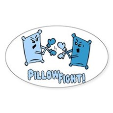 Pillow Fight Oval Sticker