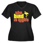 The Bird Is Right Women's Plus Size V-Neck Dark T-