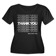 Thank You Bag Womens Plus Size Scoop Neck Dark T-