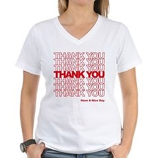 Thank You Bag Womens V-Neck T-Shirt