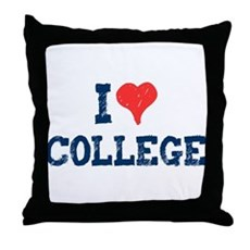 I Love College Throw Pillow