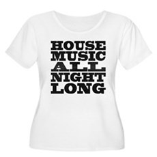 House Music All Night Long Womens Plus Size Scoop