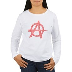 Vintage Anarachy Symbol Womens Long Sleeve T-Shir