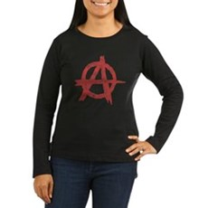 Vintage Anarachy Symbol Womens Long Sleeve Dark T