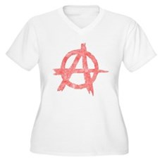 Vintage Anarachy Symbol Womens Plus Size V-Neck T