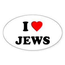 I Love Jews Oval Sticker