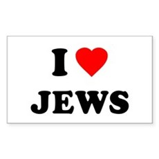 I Love Jews Rectangle Sticker