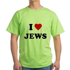 I Love Jews Green T-Shirt