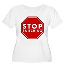 Stop Snitching Womens Plus Size Scoop Neck T-Shir