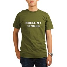 Smell My Finger Organic Mens Dark T-Shirt