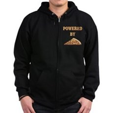 Powered By Pizza Zip Dark Hoodie