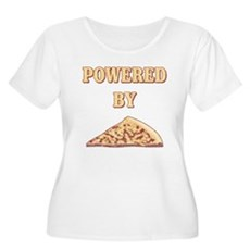 Powered By Pizza Womens Plus Size Scoop Neck T-Sh