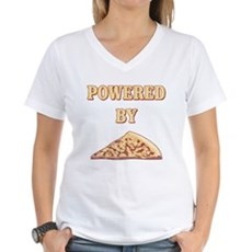 Powered By Pizza Womens V-Neck T-Shirt