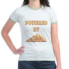 Powered By Pizza Jr Ringer T-Shirt