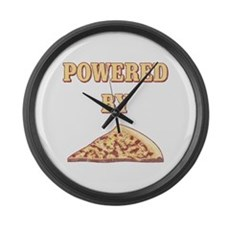 Powered By Pizza Large Wall Clock
