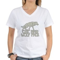 One Man Wolf Pack Womens V-Neck T-Shirt