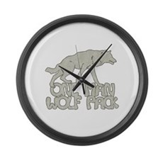 One Man Wolf Pack Large Wall Clock