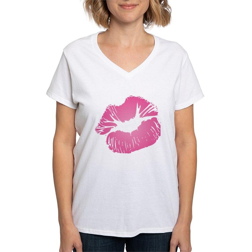 Design shirt v neck - Big Pink Lips Women S V Neck T Shirt